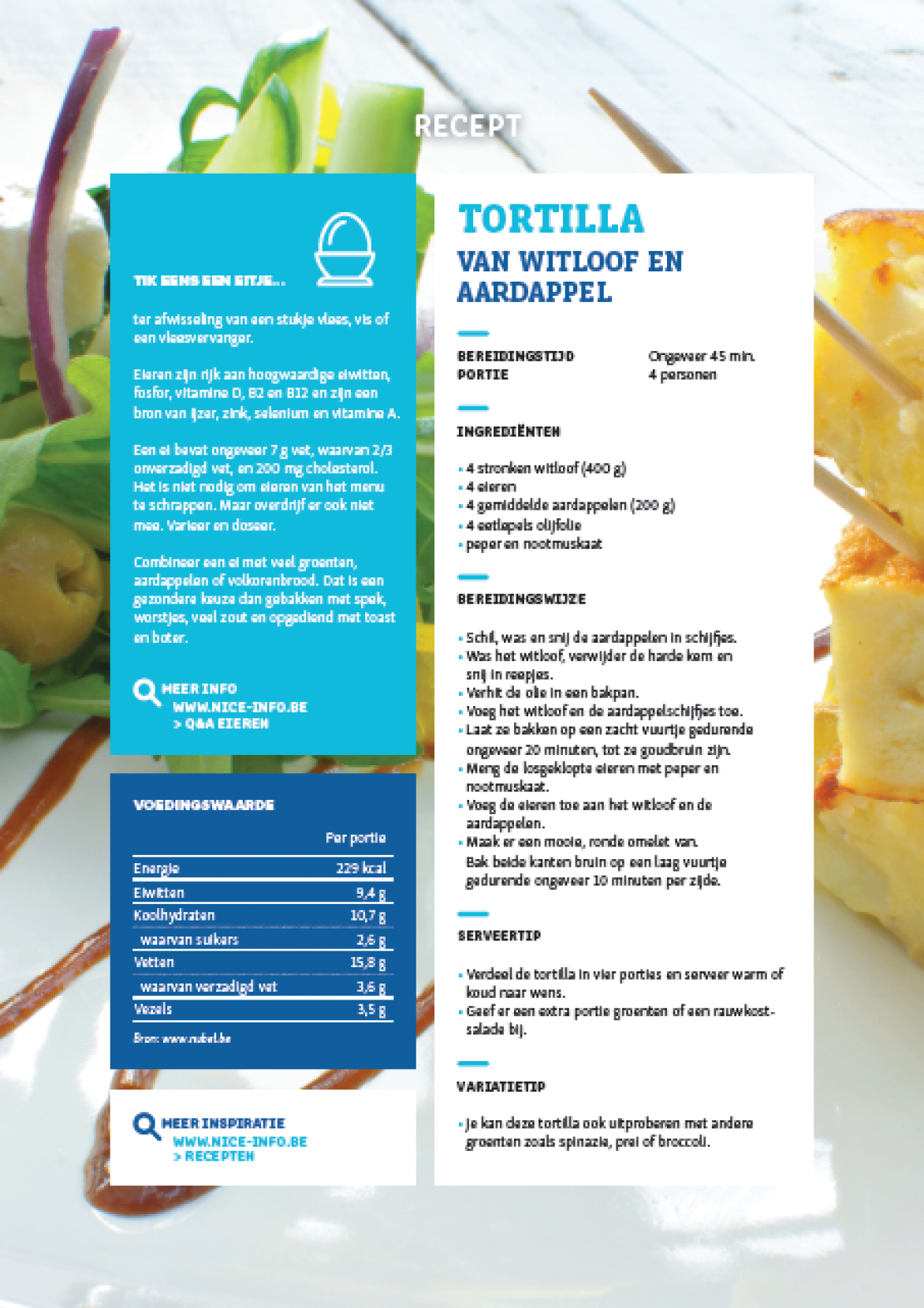 RECEPTFICHE - Tortilla van witloof